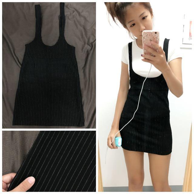 黑色吊帶窄裙 條紋黑