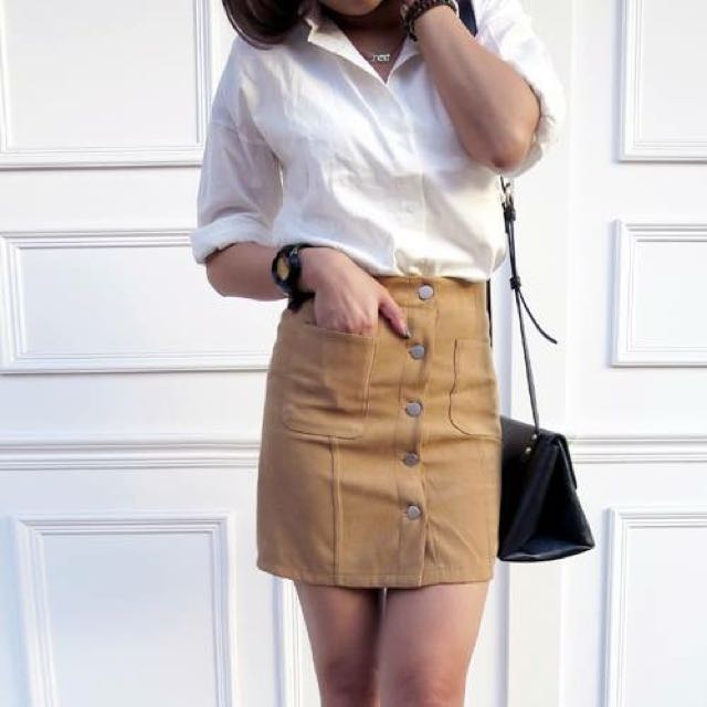 (含運)韓 口袋 排釦 窄裙 麂皮