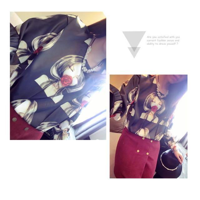 預 秋冬女裝韓版新款寬松印花學生個性上衣長袖打底衫短款T恤潮