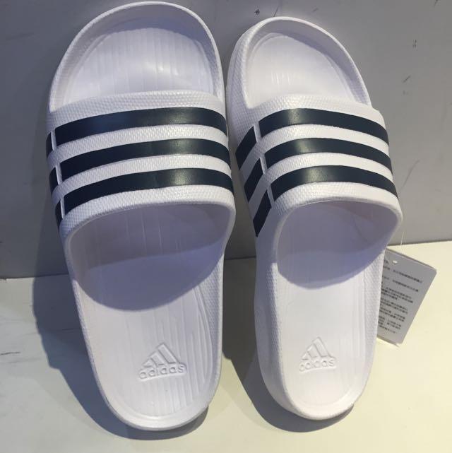 Adidas 白黑 拖鞋 情侶款