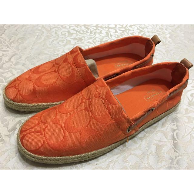 COACH橘色草編休閒鞋
