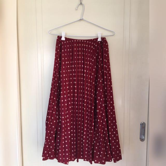 DANGERFIELD Dark Red Polka Dot Skirt