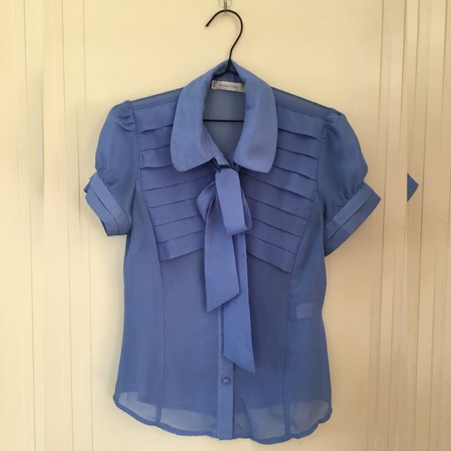 MINKPINK Blue Blouse With Tie