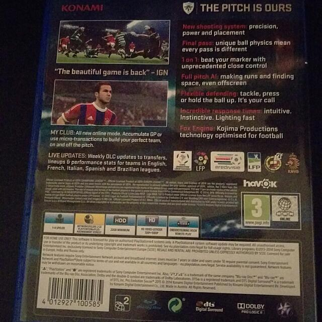 PS4 Pro Evolution Soccer PES 2015, Toys & Games on Carousell