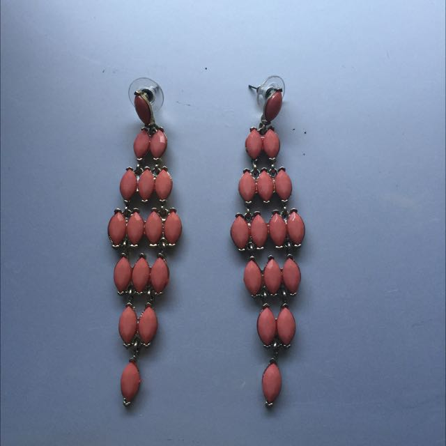 Tear Hot Peach Earring