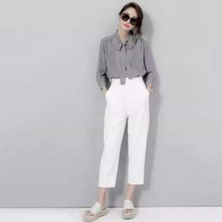 白色高腰寬鬆顯瘦百搭哈倫褲(全新)