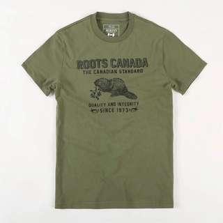 ROOTS 男生軍綠T恤 全新
