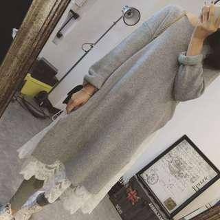 047預購。長款下開叉羊毛簡約毛衣裙-淺灰&卡其&寶藍
