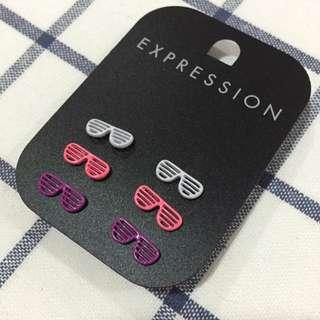 Expression 墨鏡造型耳針 耳環 紫色 螢光粉 個性 可愛