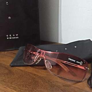瑕不掩瑜~正版 日見小野UV400桃紅漸層太陽眼鏡 墨鏡