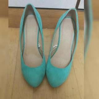 Forever 21 蒂芬尼綠高跟鞋