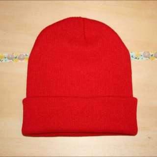 針織毛帽 大紅色毛帽 彈性毛帽 針織帽 素色毛帽