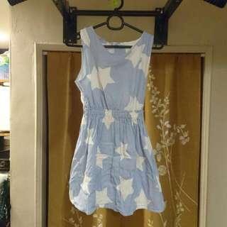 淺藍細條紋星星連身短裙