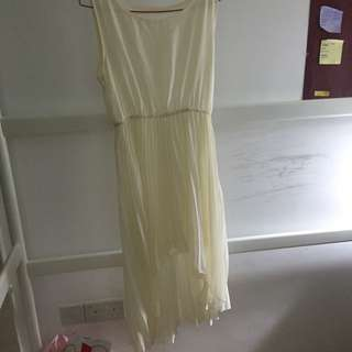 Cream Jewel Necked Dress