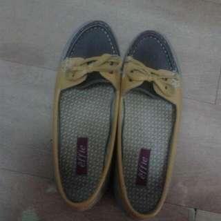 effie黃色蝴蝶結平底包鞋
