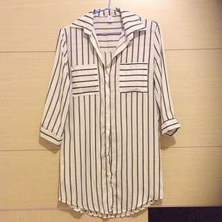 黑白條紋長版襯衫