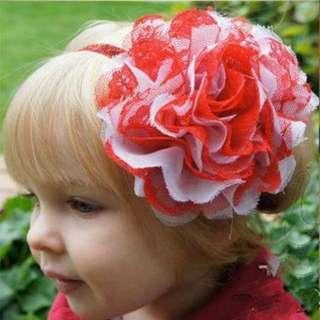 【消費🈵五百就免運】女寶嬰兒甜美雪紡蕾絲大花朵髮帶 頭飾