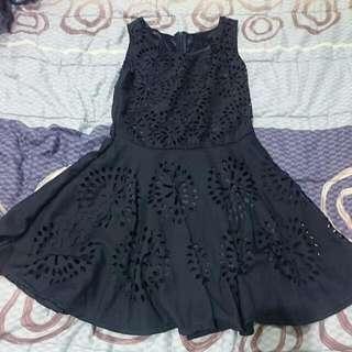 (全新)深藍色雪紡洋裝