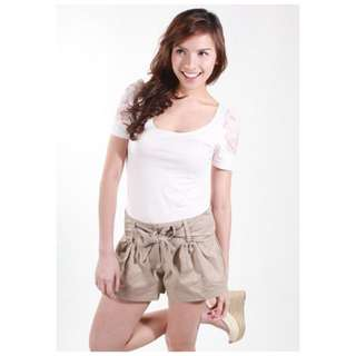 LB Love, Bonito Kitsch Paperbag Shorts in Taupe