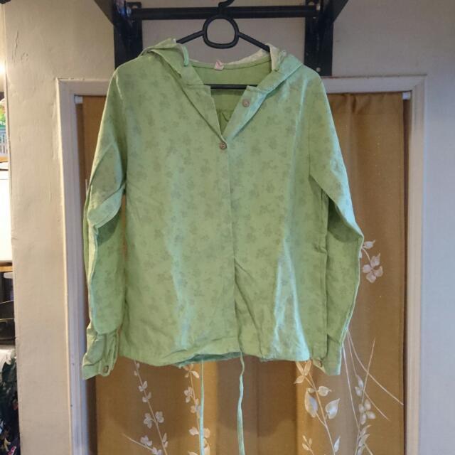 綠色花草圖案帶帽襯衫外套