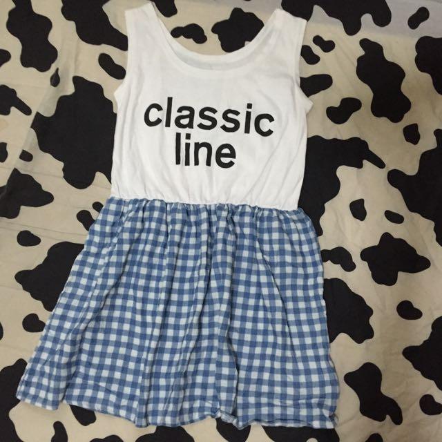 簡單經典字母藍白格子縮腰連身裙