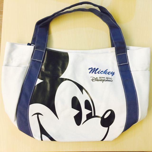 香港迪士尼。米奇藍白帆布包。