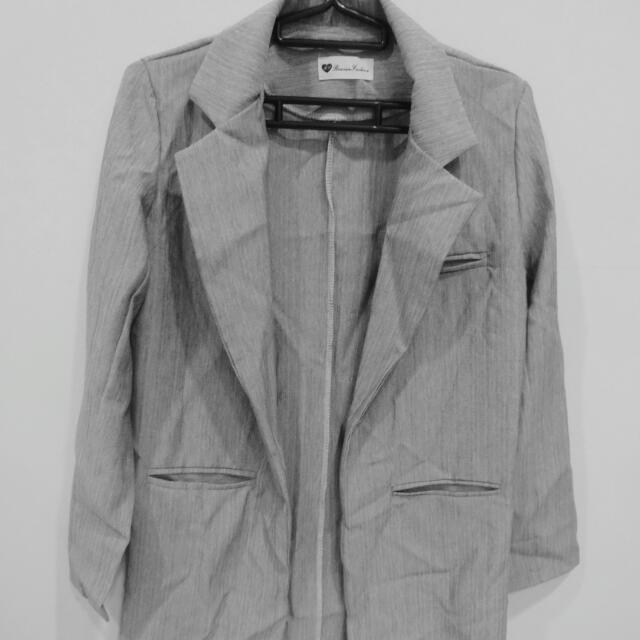 薄款長版西裝外套