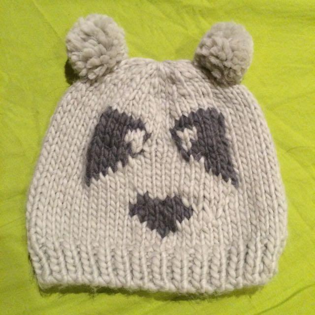 🐼🐼淺灰色熊貓毛線帽 毛帽