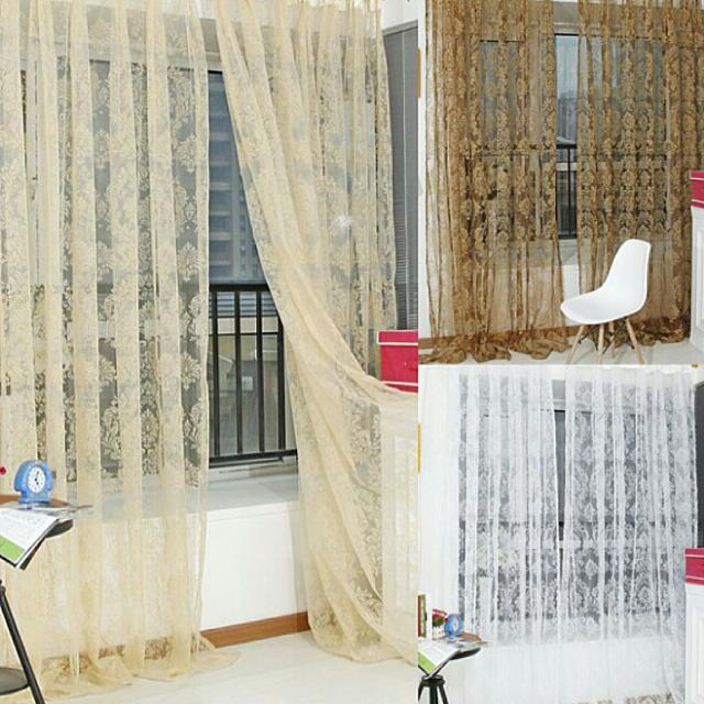 Цветочный шарф двери окна балкон вуаль занавески прозрачный .