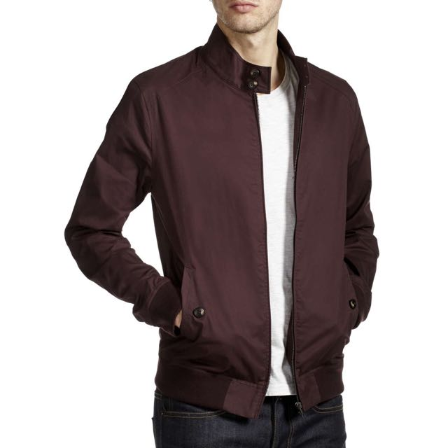 Burton's Menswear Harrington Jacket Burgundy, Size Small S