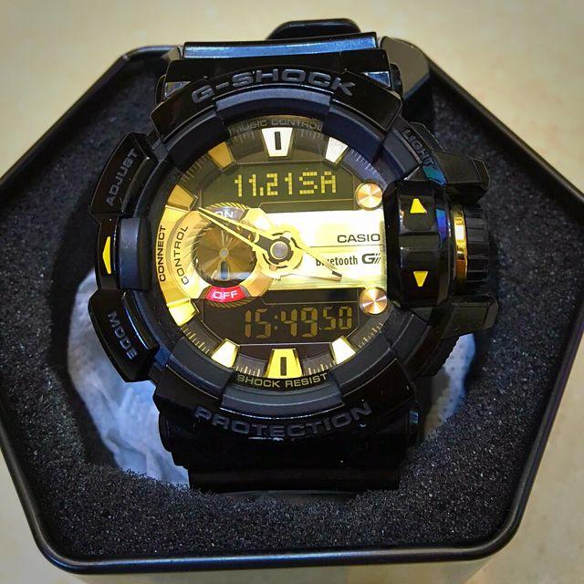 (匯款中)CASIO 卡西歐 G-SHOCK GBA-400-1A9 大錶徑 音樂控制 藍芽 黑金 9成新 CASIO原裝 附原廠錶盒及說明書及保固卡