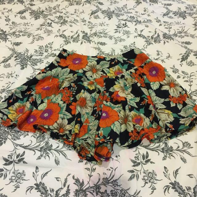 Floral Skater Skirt Shorts