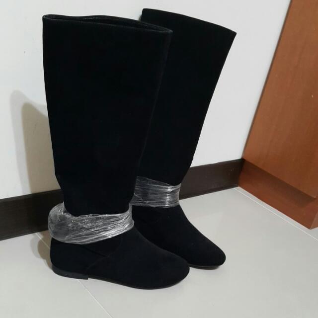 GRACE GIFT KAZANA 全新超顯瘦麂皮絨布內增高長靴(含運) #交換最划算