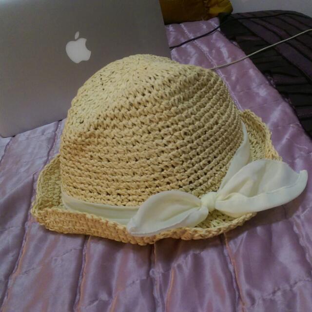 H&M 白色絲帶夏日度假風草帽 美國購入