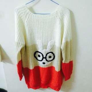 全新長版兔子可愛配色毛衣