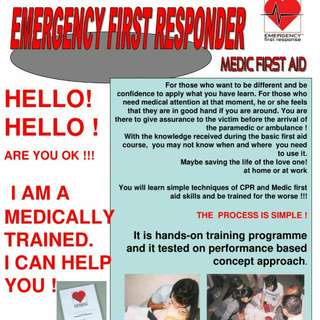 EMERGENCY FIRST RESPONDER ( FIRST AID COURSE) One Day Course! OPEN FOR BOOKING