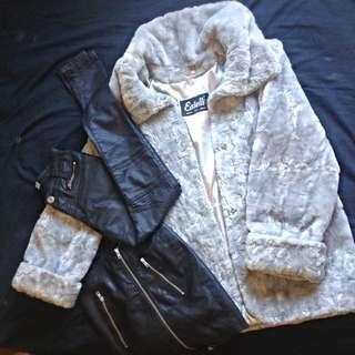 Estelli French Fur Coat, Bardot Black Leather Skirt, Wakee Denim Black Jeans