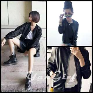 【Yangirl】秋冬時尚黑色皮質夾克