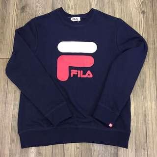 全新 日本帶回 FILA LOGO 大學TEE 衛衣 深藍色 高磅數