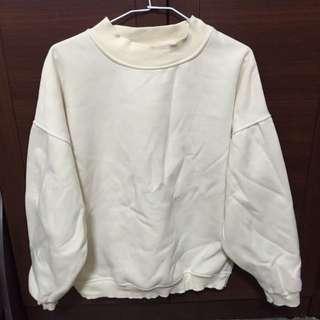 大學T米白厚棉刷毛高領衛衣 質感超好