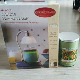 Yankee Candle Full Set - Reserved Candle Warmer Lamp × 1 Include 1 extra Spare Bulb × 1 Candle Bay Leaf Wreath 623g(L) X 1