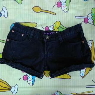 Low Rise Black Denim Shorts