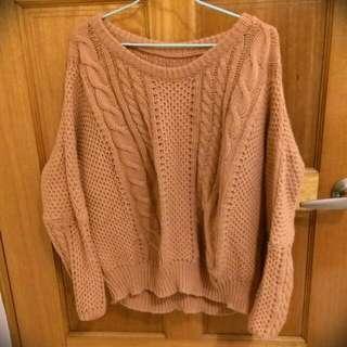 顯白橘針織毛衣