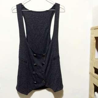 造型雙排扣棉質長版背心(深灰)