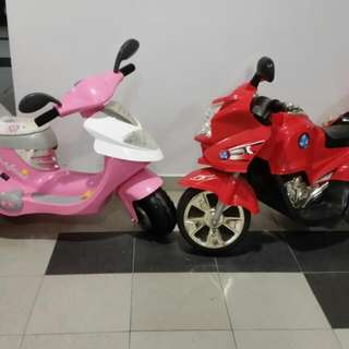 2 Kids Battery Bike For $50 With Charger Pink Colour Puchased At Kiddy Palace Red Colour Purchased At Pandan City Johor Bahru
