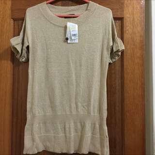 全新吊牌在WANKO金蔥造型長版針織衫