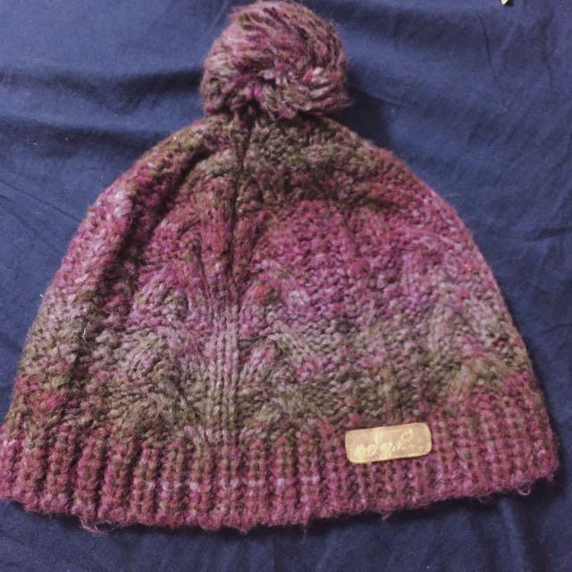 紫色系針織球球毛帽