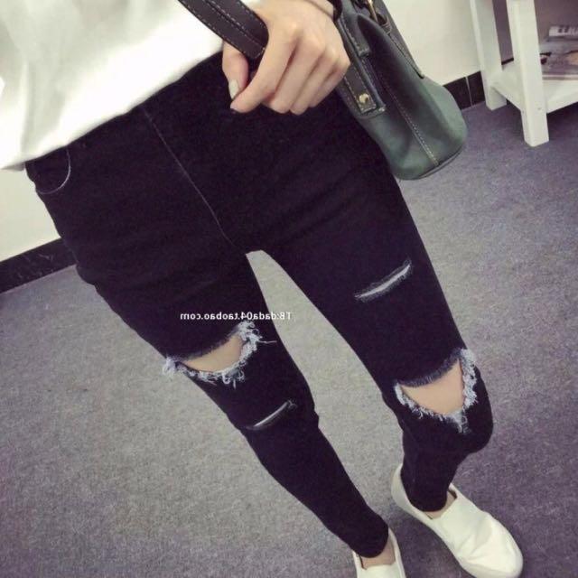 韓風黑色不對稱破褲