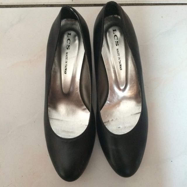 黑色木紋跟跟鞋