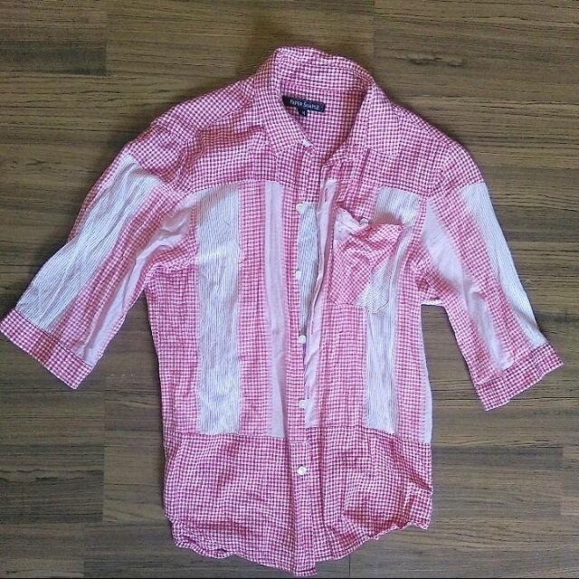 粉色七分袖襯衫